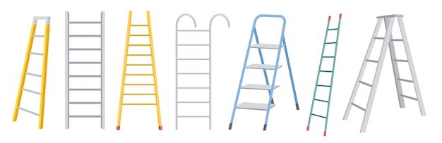Ensemble d'échelles en métal, construction d'escaliers pour travaux de rénovation isolé sur fond blanc. outils ménagers, escabeaux métalliques portables de différentes formes. illustration vectorielle de dessin animé