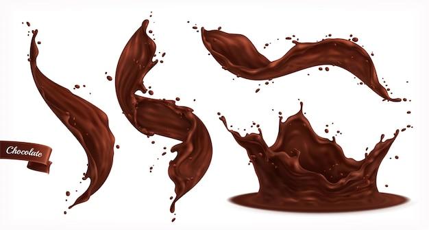 Ensemble d'éclaboussures de chocolat isolé avec de petites gouttes et des flux sinueux