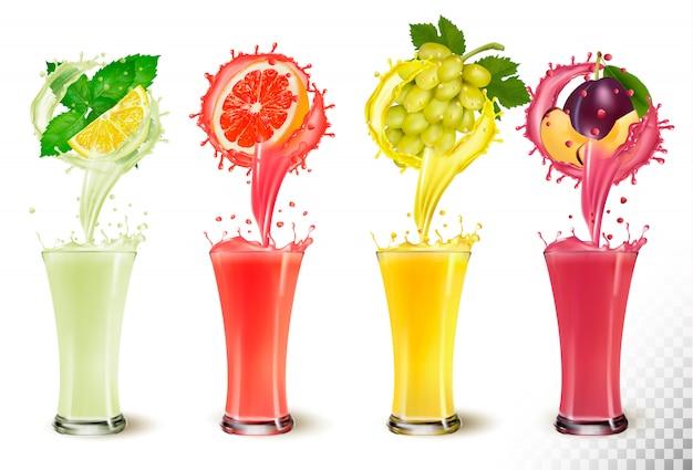 Ensemble d'éclaboussures de jus de fruits dans des verres. menthe et citron, pamplemousse, raisin, prune.