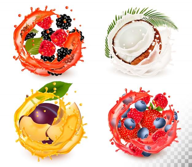 Ensemble d'éclaboussures de jus de fruits. fraise, mûre, framboise, myrtille, prune, noix de coco.