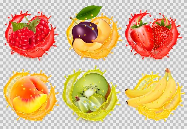 Ensemble d'éclaboussures de jus de fruits. framboise, prune, fraise, banane, kiwi, pêche,
