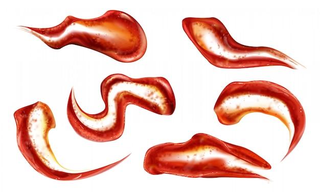 Ensemble d'éclaboussures de ketchup