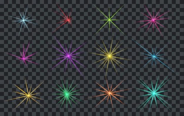 Ensemble d'éclairage abstrait flares ou étoiles brillantes