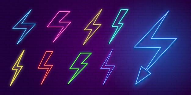 Ensemble d'éclairs au néon