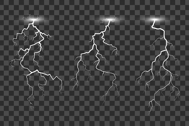Ensemble d'éclairs sur fond transparent, illustration