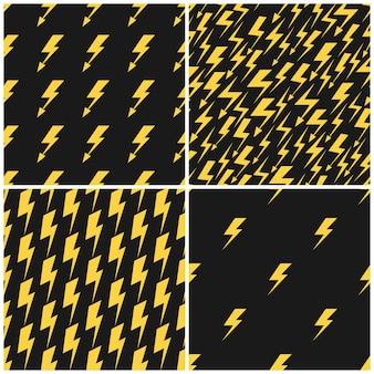 Ensemble d'éclairs jaunes sur les profils sans soudure de vecteur noir