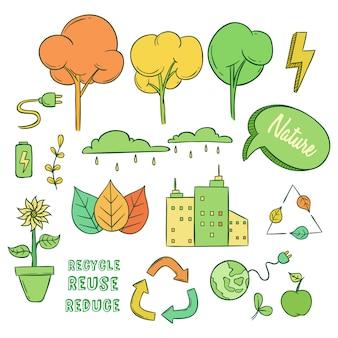 Ensemble d'eco ou aller des icônes vertes avec style doodle