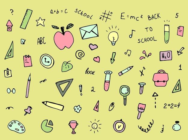 Ensemble d'écoles doodles collection dessinée à la main de papier peint d'éléments d'étudiants