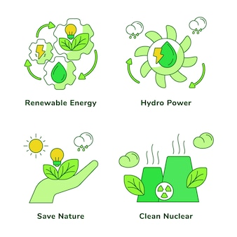 Ensemble d'écologie de l'énergie hydroélectrique à énergie renouvelable