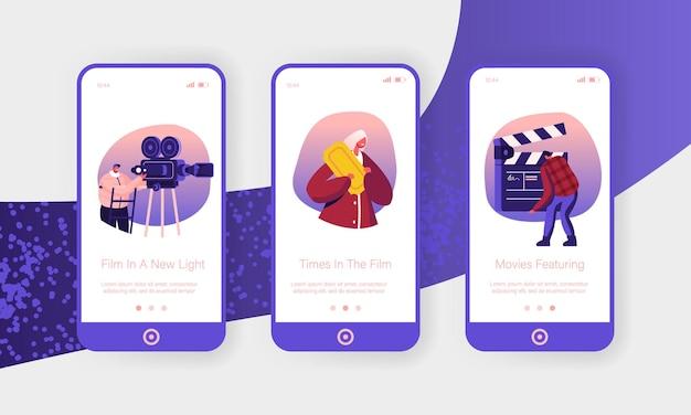 Ensemble d'écran à bord de la page de l'application mobile de création de film.