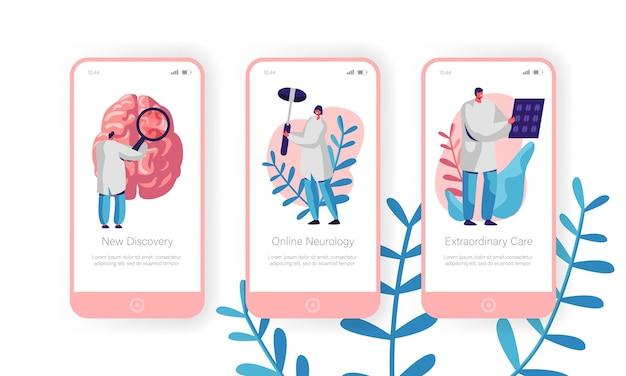Ensemble d'écran à bord de la page de l'application mobile du département de neurologie hospitalière.