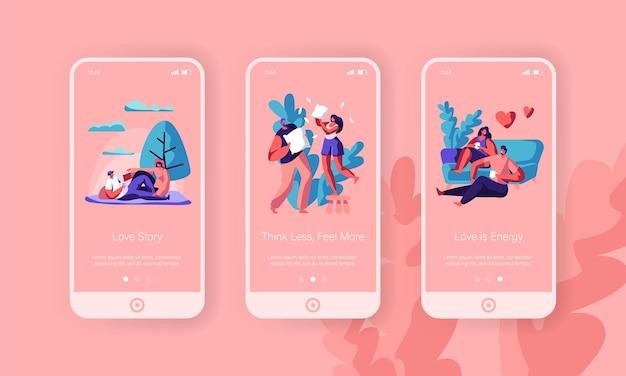 Ensemble d'écran à bord de la page de l'application mobile lovers rest together.