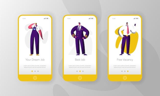 Ensemble d'écran à bord de la page d'application mobile de personnage de poste vacant différent.