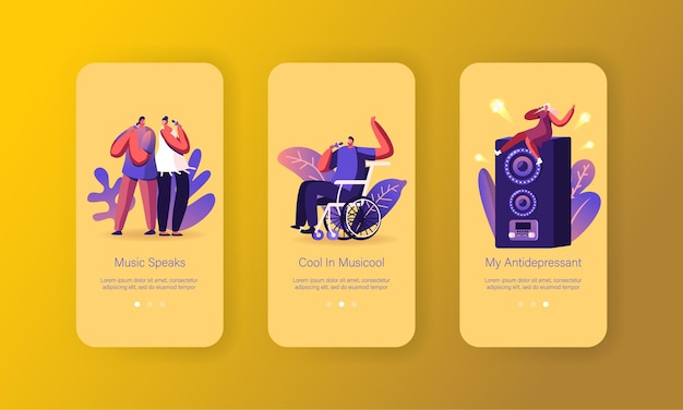 Ensemble d'écran à bord de la page de l'application mobile de personnes chantant.