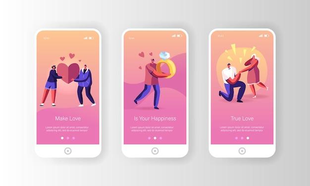 Ensemble d'écran à bord de la page de l'application mobile de relations romantiques et de proposition.