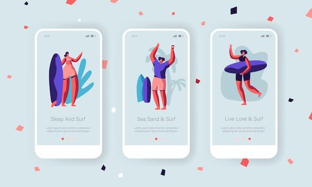 Ensemble d'écran à bord de la page de l'application mobile de sport d'été.