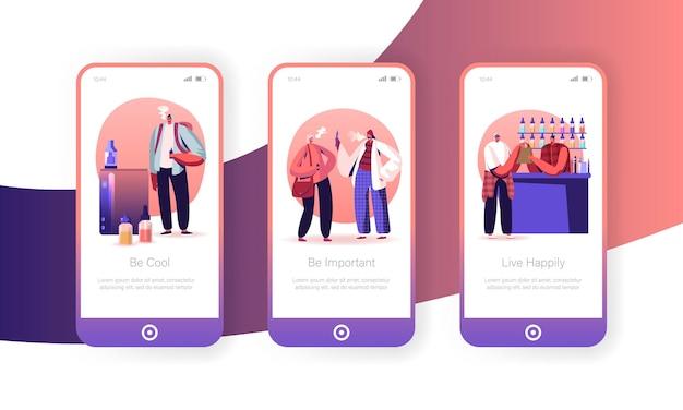Ensemble d'écran à bord de la page de l'application mobile vape shop business.