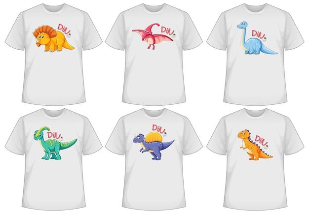 Ensemble d'écran de dinosaure de couleur différente sur des t-shirts
