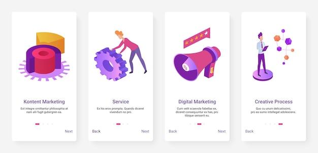 Ensemble d'écran de page d'application mobile de service technique de processus créatif