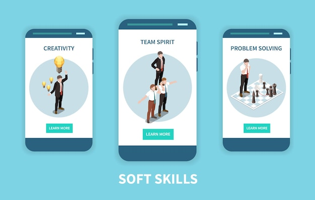 Ensemble d'écran de smartphone isométrique soft skills
