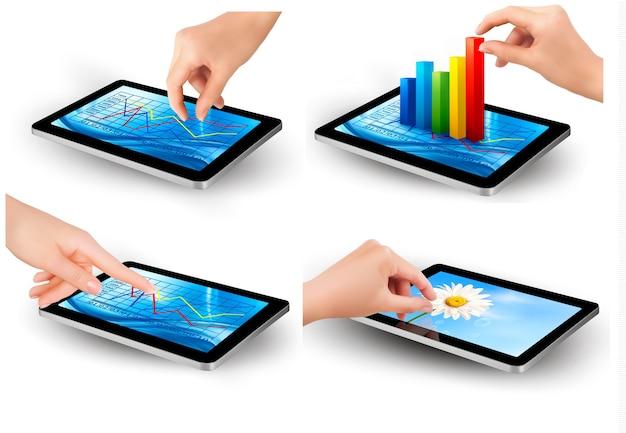 Ensemble d'écran de tablette avec graphique et une main. .
