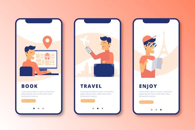 Ensemble d'écrans d'application d'intégration de voyage en ligne