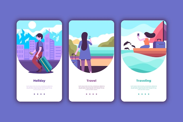 Ensemble d'écrans d'application d'intégration de voyage