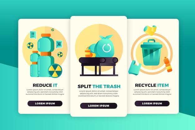 Ensemble d'écrans d'application de recyclage