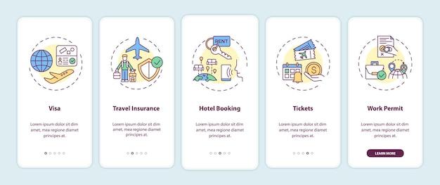 Ensemble d'écrans de page d'application mobile d'intégration des exigences relatives aux voyages d'affaires