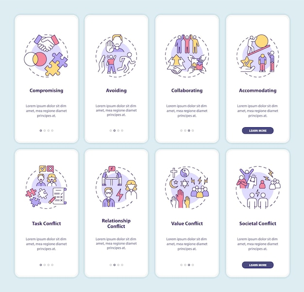 Ensemble d'écrans de page d'application mobile d'intégration de la gestion des conflits