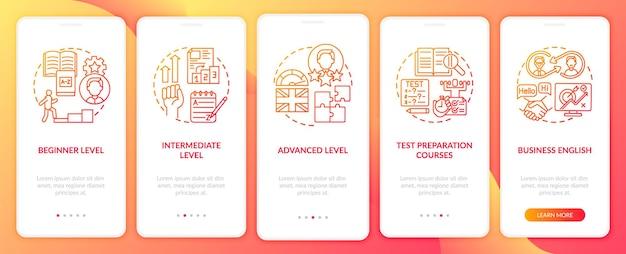 Ensemble d'écrans de page d'application mobile d'intégration des niveaux d'étude de langue