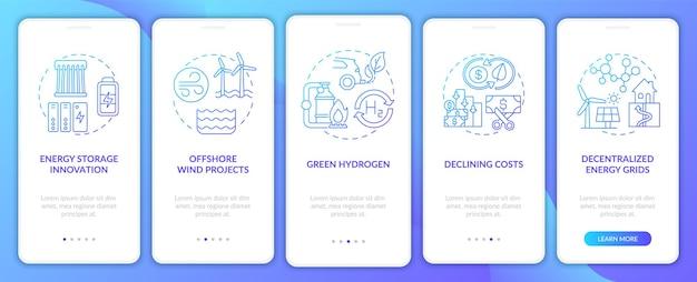 Ensemble d'écrans de page d'application mobile d'intégration de projets éoliens offshore