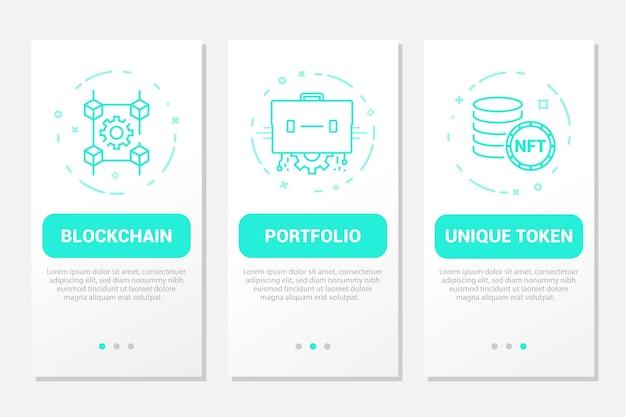Ensemble d'écrans de page d'application mobile d'intégration de sécurité de la technologie blockchain de l'art crypto