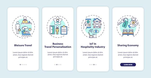 Ensemble d'écrans de page d'application mobile d'intégration des tendances des voyages d'affaires