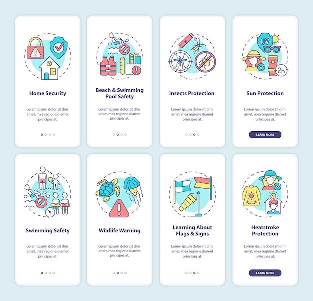 Ensemble d'écrans de page d'application mobile de planification de vacances d'été.