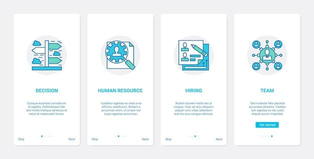 Ensemble d'écrans de page d'application mobile pour le recrutement de la gestion des ressources humaines de l'entreprise ux ui