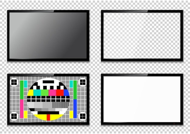 Ensemble d'écrans de télévision réalistes isolés sur fond transparent