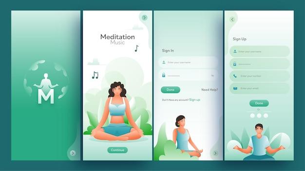 Ensemble d'écrans ui, ux, gui app de musique de méditation, y compris la connexion