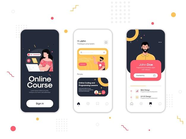 Ensemble d'écrans ui, ux, gui application de cours en ligne