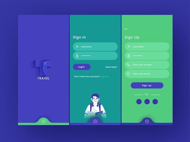 Ensemble d'écrans ui, ux, gui, application de voyage, y compris créer un compte