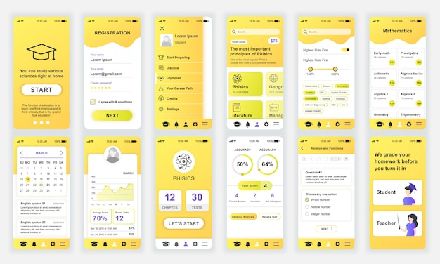 Ensemble d'écrans ui, ux, gui education app flat