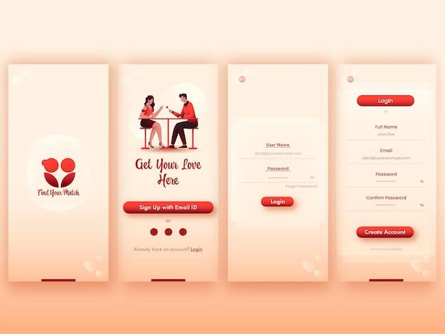 Ensemble d'écrans ui, ux, gui match parfait ou application de rencontre, y compris créer un compte, se connecter, s'inscrire