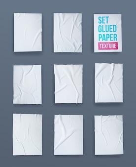 Ensemble d'effet froissé de papier collé blanc.