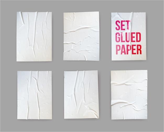 Ensemble d'effet froissé de papier collé.