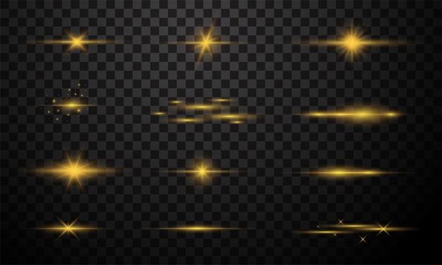 Ensemble d'effet de lumière dorée isolé sur fond transparent foncé. éblouissement de la lentille en or brillant, explosion, paillettes, ligne, flash solaire, étincelle et étoiles.