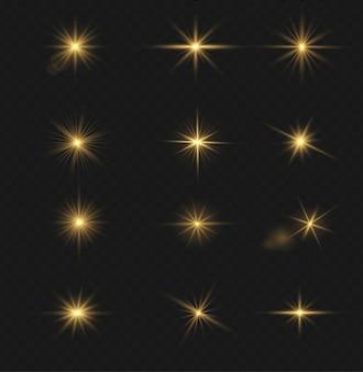Ensemble d'effet de lumière flash, lentille spéciale de la lumière du soleil. des éclairs et des reflets d'or brillant