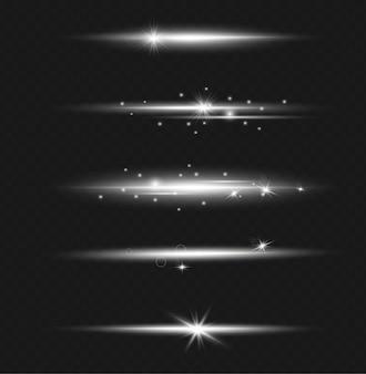 Ensemble d'effet de lumière flash transparent, lentille spéciale de la lumière du soleil. des éclairs et des reflets d'or brillant