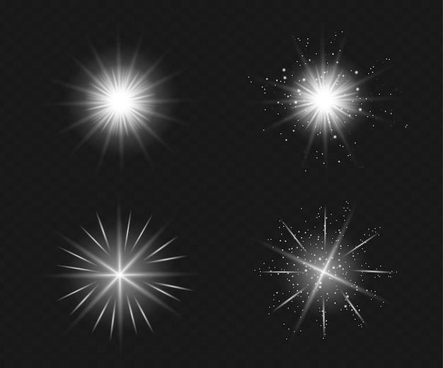 Ensemble d'effet de lumière flash transparent, lentille spéciale de la lumière du soleil.