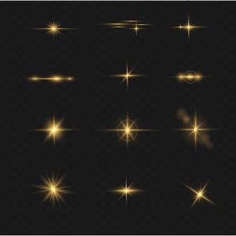 Ensemble d'effet de lumière flash transparent de vecteur, lentille spéciale de la lumière du soleil. des éclairs et des reflets d'or brillant