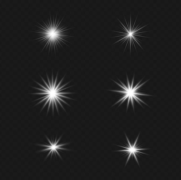 Ensemble d'effet de lumière flash transparent de vecteur, lentille spéciale de la lumière du soleil